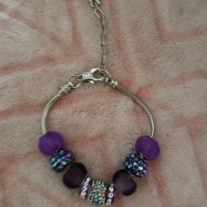 Purple Glam Charm Bracelet